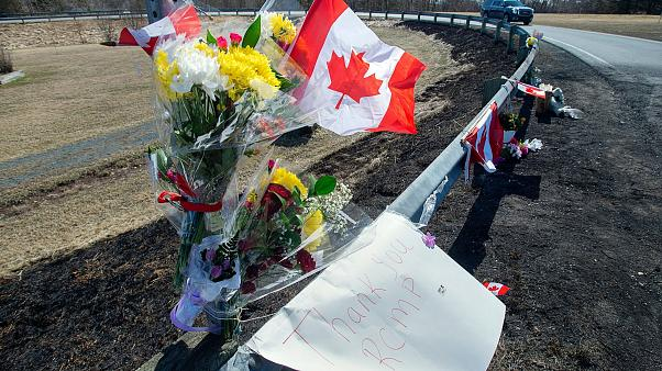 Tributes left for victims of the murders in Nova Scotia