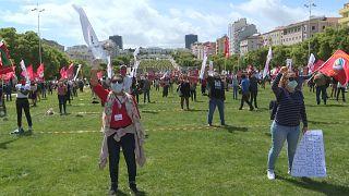 صدها پرتغالی در روز جهانی کارگر برغم قرنطینه در لیسبون گردهم آمدند