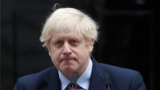 Monday, April 27, 2020, British Prime Minister Boris Johnson makes a statement on his first day back at work in Downing Street, London, after recovering from coronavirus