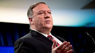In this April 29, 2020 photo, US Secretary of State Mike Pompeo speaks at a news conference at the State Department in Washington