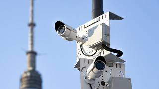 Two surveillance camera are seen in a street in Moscow, Russia in February 2020.