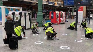 Social distancing preparations at Paris' Gare du Nord