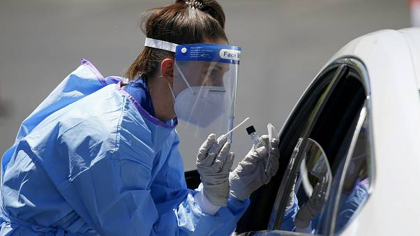 An appointment-only coronavirus drive-thru COVID-19 swab test site at Impact Church, May 4, 2020, in Scottsdale, Ariz.