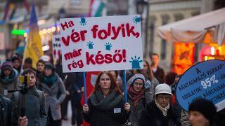A NANE felvonulása a nők elleni erőszak felszámolásának világnapján a fővárosban
