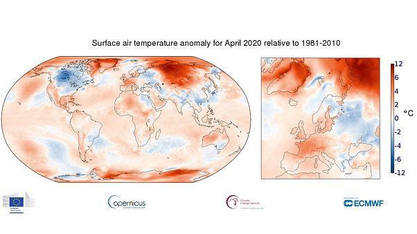 Anomalía de temperaturas respecto a la media para el mes de abril