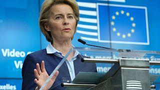 European Commission President Ursula von der Leyen in Brussels, Thursday, April 23, 2020.