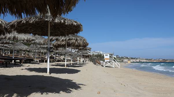 A deserted beach is pictured in the Cypriot resort town of Ayia Napa on May 4, 2020, as the island country gradually eases its lockdown restrictions