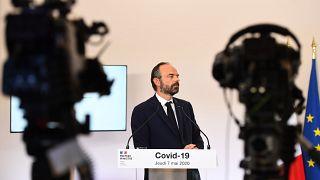 Frankreichs Regierungschef Edouard Philippe stellt die Pläne der Regierung vor. May 7, 2020 (Photo: CHRISTOPHE ARCHAMBAULT / POOL / AFP)