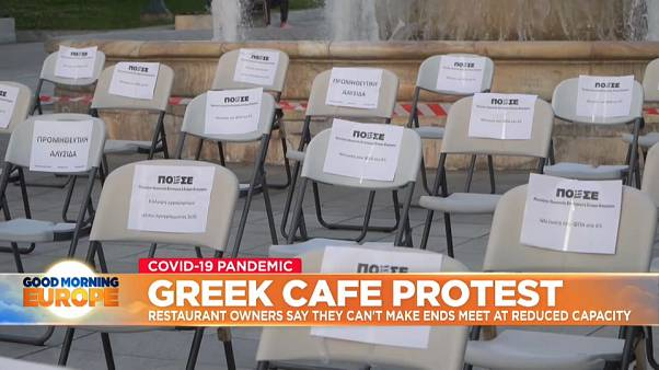Restaurateurs in Athens stage 'empty chair' protest at restricted reopening plans