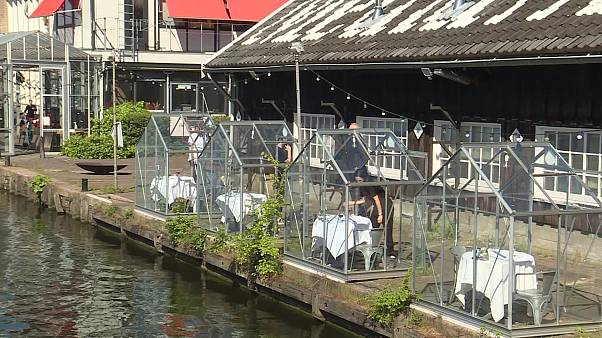 Coronavirus: Amsterdam art centre uses greenhouses to offer outdoor eating amid COVID-19 pandemic