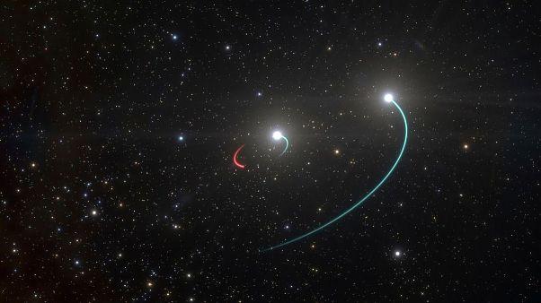 تصویر بازسازی شدهٔ اخترشناسان از سیاهچالهٔ خاموش در نزدیکی دو ستاره