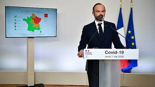 French Prime Minister Edouard Philippe speakds as he presents the details for the end of the country's lockdown, on May 7, 2020