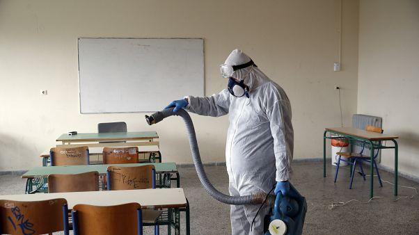 Virus Outbreak Greece Schools