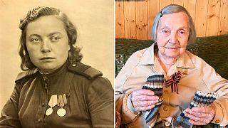 Zinaida Korneva nos tempos do Exército Vermelho e hoje, com 98 anos, e as meias para oferecer ao Capitão Tom