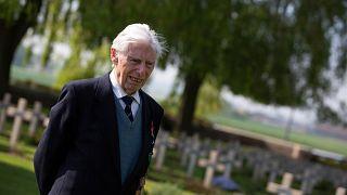 British World War II RAF veteran George Sutherland, 98, at the Lijssenthoek war cemetery in Belgium, May 8, 2020.