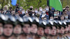 APTOPIX Virus Outbreak Belarus WWII Victory Day