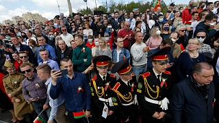 People attend the Victory Day military parade that marked the 75th anniversary of the allied victory over Nazi Germany, in Minsk, Belarus, Saturday, May 9, 2020