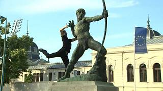 Bailarines húngaros en el Día de Europa