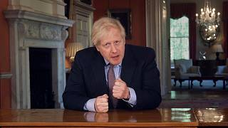 In this grab taken from video issued by Downing Street on Sunday, May 10, 2020, Britain's Prime Minister Boris Johnson delivers an address on lifting the country's lockdown.