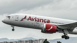 In this file photo taken on August 28, 2019, an aircraft of Colombian company Avianca