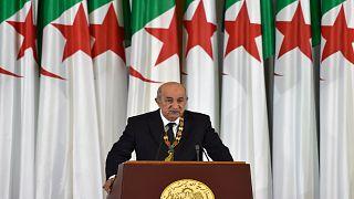 الرئيس الجزائري عبد المجيد تبون خلال خطاب مراسم أداء اليمين الرسمية في العاصمة الجزائر في 19 ديسمبر 2019.