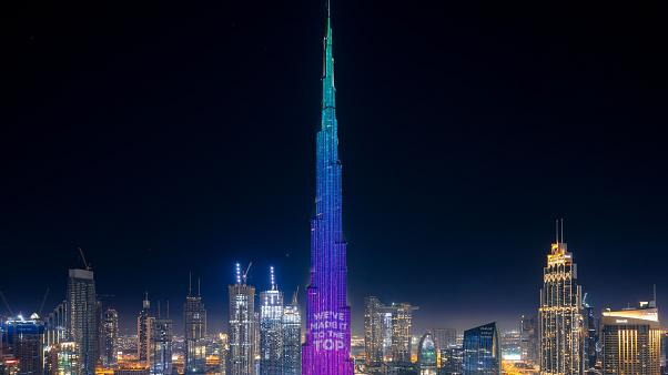Burj Khalifa: World's tallest building lit up in COVID-19 fundraising drive