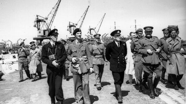 Brigadier Snow and members of Task Force 135 arriving in Alderney on May 16, 1945