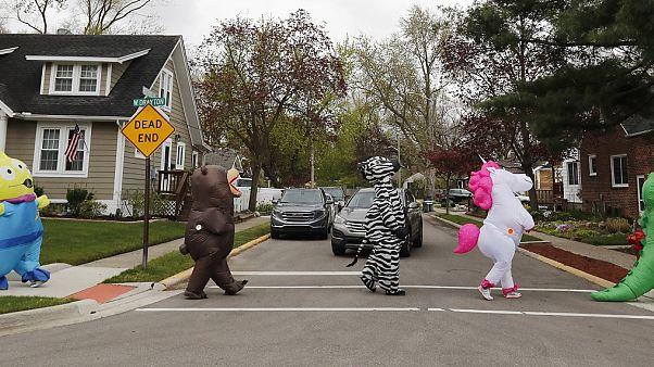 Virus Outbreak Michigan T-Rex Walking Club