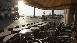 Deserted plaza in Venice, Italy