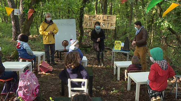 Children have lessons in woods as parents protest school not reopening