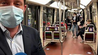 Public transport still largely empty in Paris