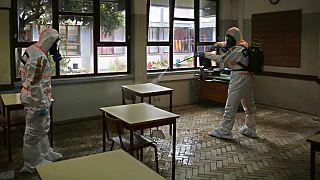 Militares ajudaram a desinfetar estabelecimentos de ensino em Portugal