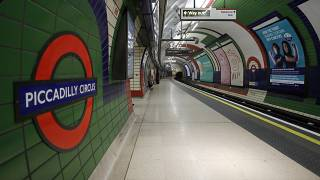 An empty platform at Piccadilly Circus tube station in London, Friday, March 20, 2020.