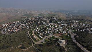 مستوطنة معاليه إفرايم المبنية على أراض فلسطينية على تلال غور الأردن بالضفة الغربية. 18/02/2020