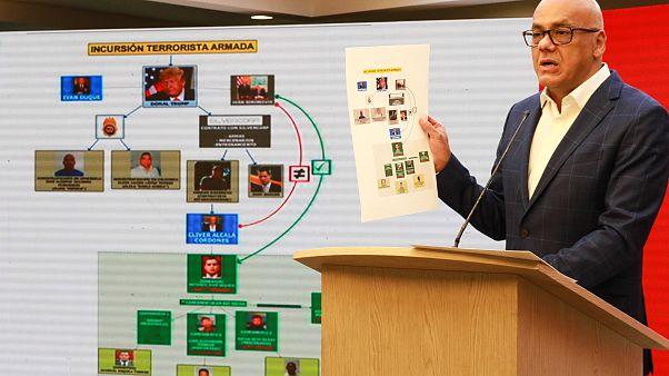 """وزير الاعلام الفنزويلي خورخي رودريغيز يتحدث بشأن مزاعم إتهام زعيم المعارضة خوان غوايدو بالتخطيط لـ """"غزو"""" بحري فاشل لفنزويلا"""