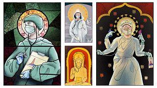 Coronavirus: Art depicting Romania's health workers as Christian saints slammed as 'blasphemous'