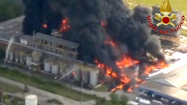 An image grabbed from a video taken by Vigili del Fuoco firefighters shows a blaze at an acetone chemical plant in Porto Marghera, near Venice, on May 15, 2020