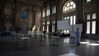Una escuela en Bélgica lista para la reapertura