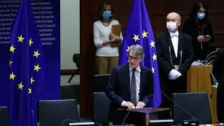 European Parliament President David Sassoli attends  a plenary session of the European Parliament in Brussels on May 13,  2020