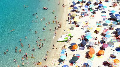 Crowded beach in Italy