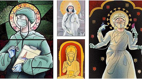 فنون بصرية تصوّر العاملين في المجال الصحي كقديسين تغضب الكنيسة الرومانية