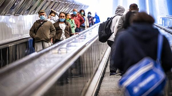 Passengers in a metro station, Budapest, April 27, 2020.