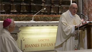 Pope Francis celebrates a private mass to mark the 100th anniversary of the birth of late Pope John Paul II. Rome, May 18, 2020.