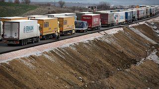 Türkiye-Bulgaristan sınırındaki TIR'lar.