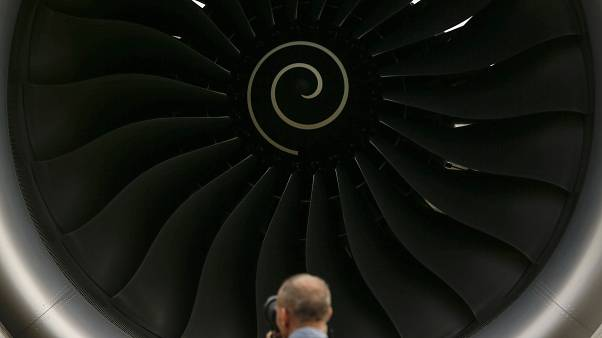 a Rolls-Royce engine on an Airbus A350 XWB test flight aircraft