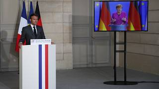 Macron and Merkel during online summit on European Recovery Plan