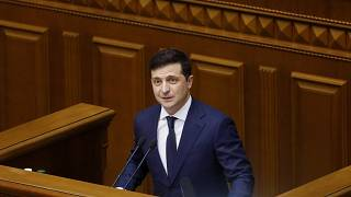Ukrainian President Volodymyr Zelenskyy addresses the Ukrainian parliament in Kyiv, Ukraine, Wednesday, March, 4, 2020.