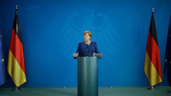 Angela Merkel sajtótájékoztatót tart 2020. május 20-án.