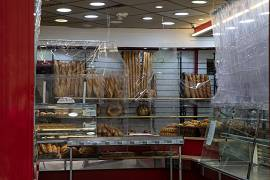 A bakery in Marseille has changed its interior in a bid to contain COVID-19 spreading. France. May 2020
