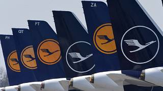 """Planes of the German airline Lufthansa parked at the """"Franz-Josef-Strauss"""" airport in Munich, Germany. April 1, 2020"""